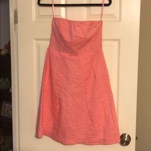 Pink strapless dress with pockets